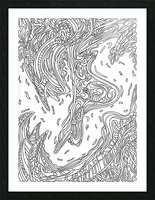 Wandering Abstract Line Art 14: Black & White Picture Frame print