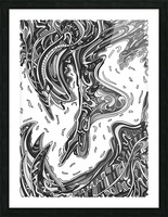 Wandering Abstract Line Art 14: Grayscale Picture Frame print