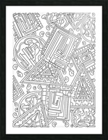 Wandering Abstract Line Art 15: Black & White Picture Frame print