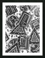 Wandering Abstract Line Art 15: Grayscale Picture Frame print