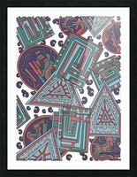 Wandering Abstract Line Art 15: Blue Picture Frame print