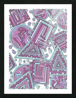 Wandering Abstract Line Art 15: Pink Picture Frame print