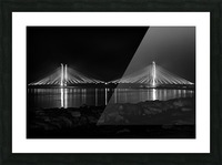 Indian River Bridge After Dark in Black and White Picture Frame print