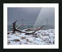 Indian River Bridge with Driftwood and Snow Picture Frame print