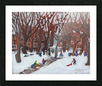 Park LaFontaine Tobogganing Picture Frame print