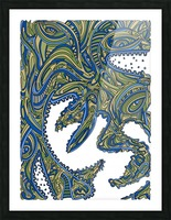 Wandering Abstract Line Art 17: Green Picture Frame print