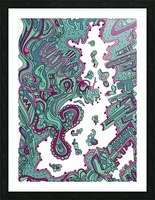 Wandering Abstract Line Art 20: Green Picture Frame print