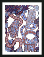 Wandering Abstract Line Art 24: Orange Picture Frame print