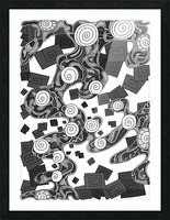Wandering Abstract Line Art 29: Grayscale Picture Frame print