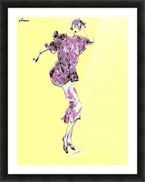 1980's Fashion on Yellow Picture Frame print