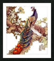 china peafowl glass feather peacock Picture Frame print