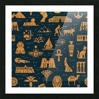 dark seamless pattern symbols landmarks signs egypt Picture Frame print