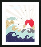 mountain sun japanese illustration Picture Frame print