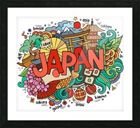 Earthquake and tsunami drawing japan illustration Picture Frame print