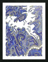 Wandering Abstract Line Art 34: Blue Picture Frame print
