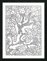 Wandering Abstract Line Art 40: Black & White Picture Frame print