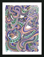 Wandering Abstract Line Art 45: Purple Picture Frame print
