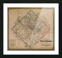19th Century District of Columbia Map 1862 Picture Frame print