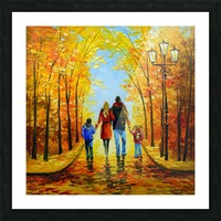 Walk with the whole family in the autumn Park Picture Frame print
