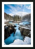 Snowy Sunwapta Falls Picture Frame print