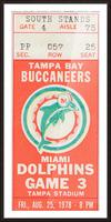 1978 Miami Dolphins Football Ticket Stub Art Picture Frame print
