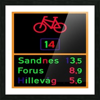 Norwegian bike route sign Picture Frame print