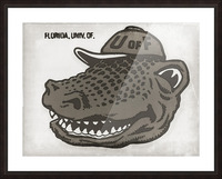 Vintage Florida Gator Art Reproduction Print Black and White Picture Frame print