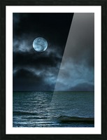 Cloudy Moon Shore at Night Picture Frame print