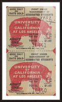 1937 USC Trojans vs. UCLA Bruins College Football Ticket Stub Art Admit One Row One Brand Picture Frame print