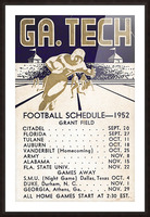 Vintage Football Schedules_College Football Schedule_1952 Georgia Tech Yellow Jackets_Schedule Art Picture Frame print