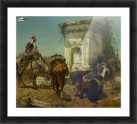 Arabs resting by a marble fountain Picture Frame print