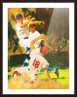 vintage watercolor style baseball art poster print sports artwork row one collection Picture Frame print