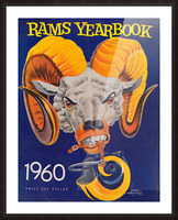 1960 nfl los angeles rams yearbook cover art price one dollar karl hubenthal Picture Frame print