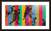 vintage hockey art colorful sports art poster Picture Frame print