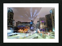 Close up city buildings at night Picture Frame print