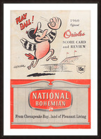 1960 baltimore orioles baseball score card review national bohemian beer ad poster Impression et Cadre photo