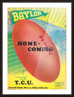 1935 College Football Program Cover Art Poster  Baylor Bears vs. TCU Football Art Print Posters Picture Frame print
