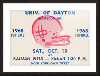 Vintage Dayton Flyers Football Ticket Poster Picture Frame print