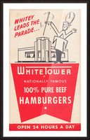 white tower hamburger ad Picture Frame print