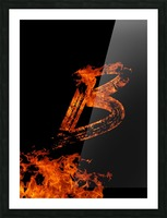 Burning on Fire Letter B Picture Frame print