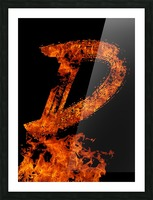 Burning on Fire Letter D Picture Frame print