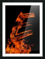 Burning on Fire Letter E Picture Frame print