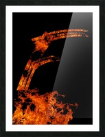 Burning on Fire Letter F Picture Frame print