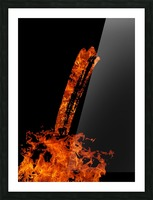Burning on Fire Letter I Picture Frame print