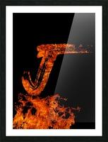 Burning on Fire Letter J Picture Frame print
