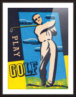 vintage golfer art play golf Picture Frame print