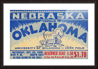 oklahoma football metal sign sooners ticket stub collection row 1 row one vintage sports art brand Picture Frame print