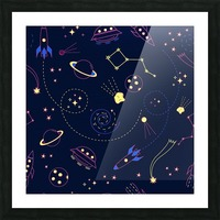 Cartoon space seamless pattern vectors Picture Frame print