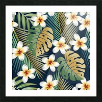 seamless pattern with tropical strelitzia flowers leaves exotic background_ Picture Frame print