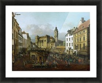 Market outside church Picture Frame print